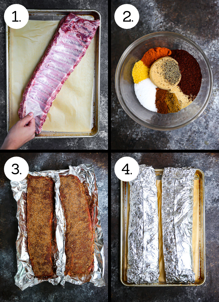 Step by step photos showing how to make Baby Back Ribs with Bourbon BBQ Sauce. Remove the membrane (1), make the dry rub (2), coat the ribs in the rub (3), wrap tightly in foil (4).