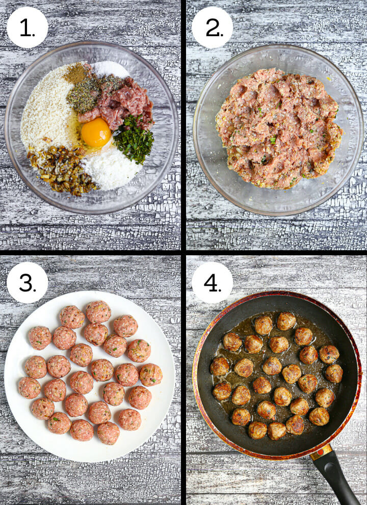 Step by step photos showing how to make lamb meatballs for Shakshuka with Lamb Meatballs. Combine ingredients (1) Mix (2), Roll meatballs (3), Fry (4).